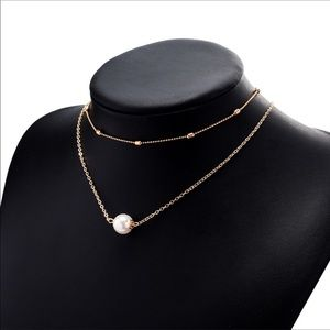 Two layer pearl necklace Gold